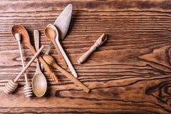 Cutlery robić drewno dla pikantność i kucharstwa Fotografia Stock