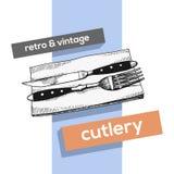 Cutlery rocznika wektorowy nakreślenie rozwidlenie i nożowy ręka rysunek odizolowywający ilustracja wektor