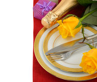 Cutlery and rose Royalty Free Stock Photos