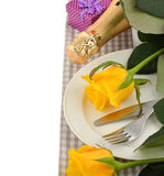Cutlery and rose Stock Image