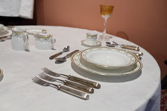Cutlery on the round table Stock Images