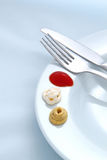 Cutlery and sauce background Stock Photography