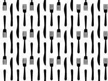 Cutlery seamless pattern fork knife. Seamless black and white cutlery background with forks and knifes Stock Photos