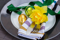 Cutlery serving for easter Royalty Free Stock Photo