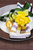 Cutlery serving on plate  for easter Royalty Free Stock Photography