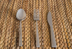 Cutlery set with fork, knife and spoon Royalty Free Stock Photo