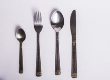 Cutlery set with Fork, Knife and Spoon isolated Stock Photos