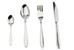 Cutlery set with Fork, Knife and Spoon isolated Stock Images