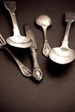 Cutlery set with fork, knife and spoon Stock Images