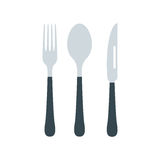 Cutlery set with fork, knife and spoon vector illustration. Silverware cutlery dinner dishware and kitchen cutlery silver tool. Dining tool with fork, knife and Stock Photos