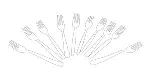 Cutlery set of forks Stock Photography