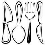 Cutlery set, noże, rozwidlenie i łyżka, nakreślenie royalty ilustracja