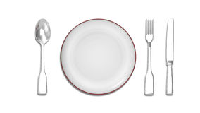 Cutlery Set with plate Stock Image