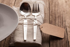 Cutlery Set at Rustic Wooden Table Setting Royalty Free Stock Photos