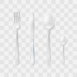 Cutlery Set. Silver Fork, Spoon and Knife. Top View Flatware Vector. Table Setting. Stock Photos