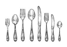 Cutlery set spoons, forks and knifes, top view. Sketch vector illustration Royalty Free Stock Image