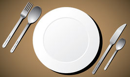 Cutlery set with white plate, fork, knife and spoo Royalty Free Stock Photography
