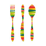 Cutlery Shapes Of Stripes Illustration Royalty Free Stock Photography