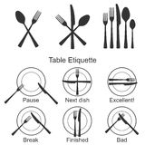 Cutlery and signs of table etiquette. Royalty Free Stock Photography