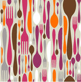 Cutlery silhouette icons pattern background stock images