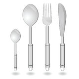 Cutlery in silver color vector illustration Stock Photography