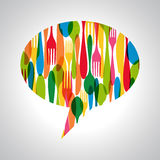Cutlery speech bubble illustration Royalty Free Stock Image