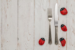 Cutlery with stone Ladybug on old table Stock Images