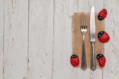 Cutlery with stone Ladybug on old table Royalty Free Stock Image