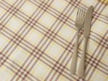 Cutlery and table cloth. Cutlery set on a table cloth Stock Photos