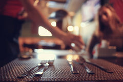 Cutlery on the table Stock Images