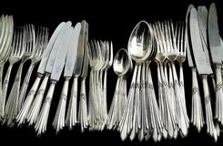 Cutlery, Tableware, Black And White, Fork Stock Photography