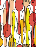 Cutlery Tableware Seamless Pattern Background Stock Images