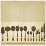 Cutlery tableware set old background Royalty Free Stock Photo