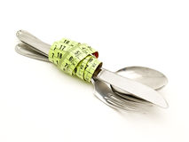 Cutlery with tape Royalty Free Stock Images