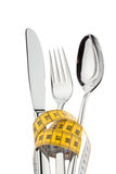 Cutlery with tape. Royalty Free Stock Photography