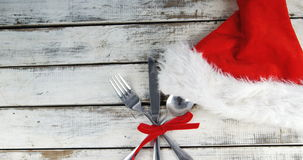 Cutlery tied up with ribbon stock video footage