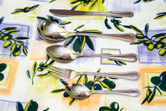 Cutlery to tablecloths Stock Images