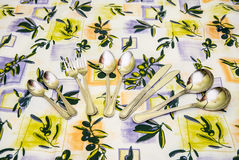 Cutlery to tablecloths Stock Photo