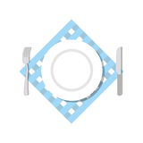 Cutlery top view. Blank White Plate, fork and knife lying on a n Stock Image