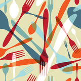Cutlery transparent silhouette pattern background Royalty Free Stock Images