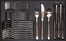 Cutlery Tray with new cutlery Stock Photography