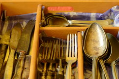 Cutlery tray and vintage cutlery Royalty Free Stock Images