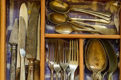 Cutlery tray and vintage cutlery Royalty Free Stock Photo