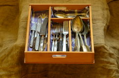 Cutlery tray and vintage cutlery Royalty Free Stock Photos