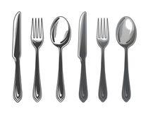 Cutlery ustalona łyżka, rozwidlenie i nóż, Tableware, odgórny widok również zwrócić corel ilustracji wektora ilustracji