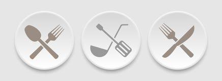 Cutlery ustalone ikony royalty ilustracja