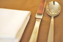 Cutlery and utensils with napkin Stock Photos