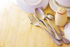 Cutlery and utensils for serving Stock Photo