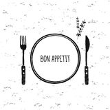Cutlery vector set. Plate, fork and knife icon. Restaurant cafe design. Bon appetit. Doodle sketch tableware, dishes, dinnerware, utensils. Black and white Stock Images