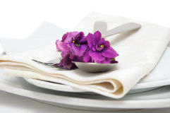 Cutlery with violet Royalty Free Stock Images
